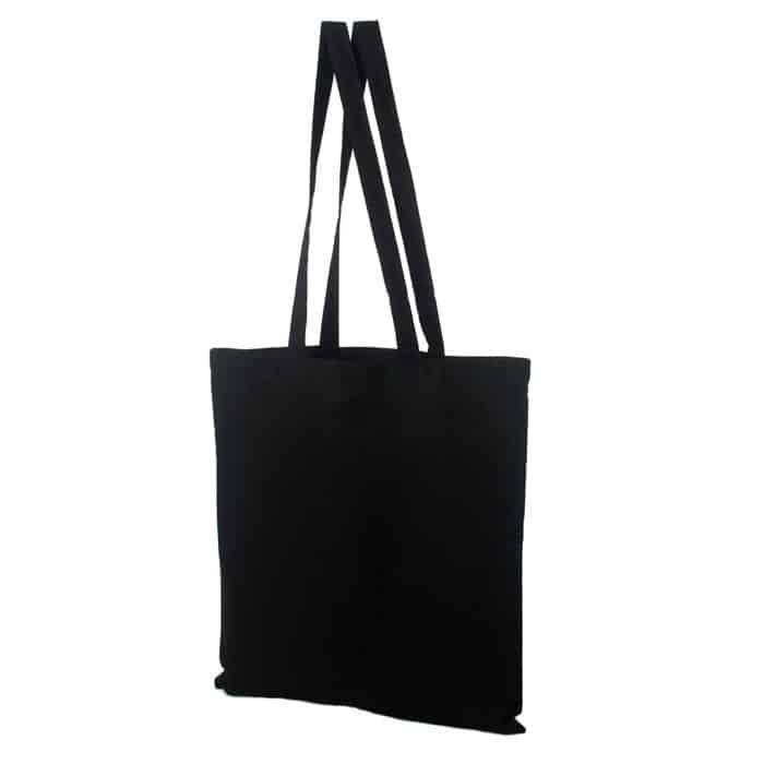 Materiałowa torba bawełniana czarna 38x42 z długimi uszami