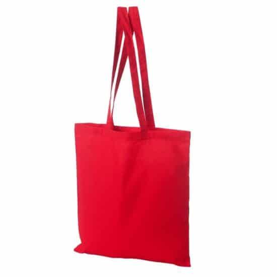 Materiałowa torba bawełniana czerwona 38x42 z długimi uszami