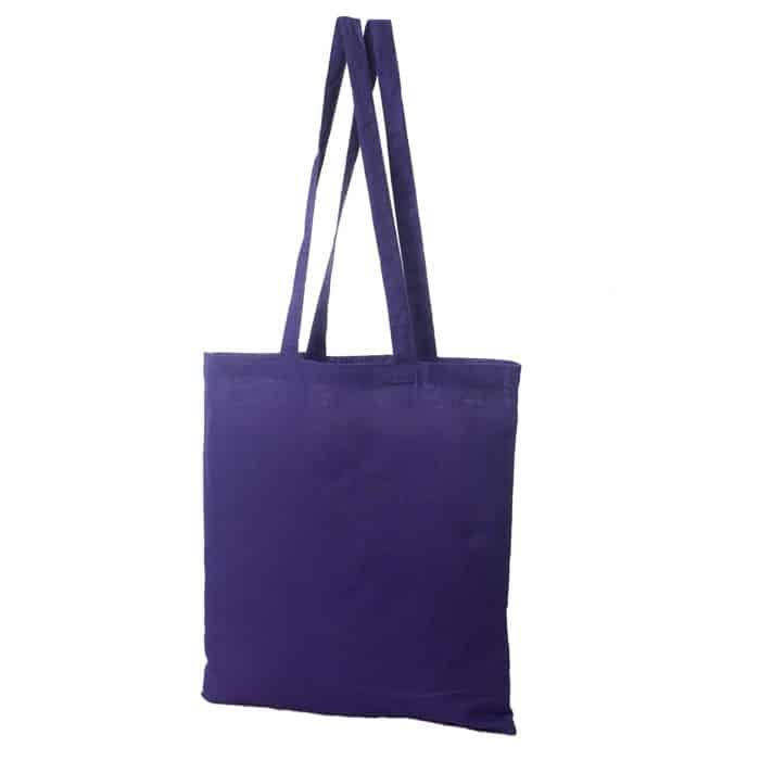 Materiałowa torba bawełniana fioletowa 38x42 z długimi uszami