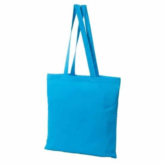 Materiałowa torba bawełniana jasnoniebieska 38x42 z długimi uszami