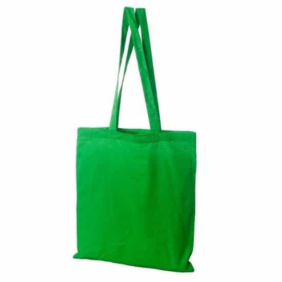 Materiałowa torba bawełniana jasnozielona 38x42 z długimi uszami