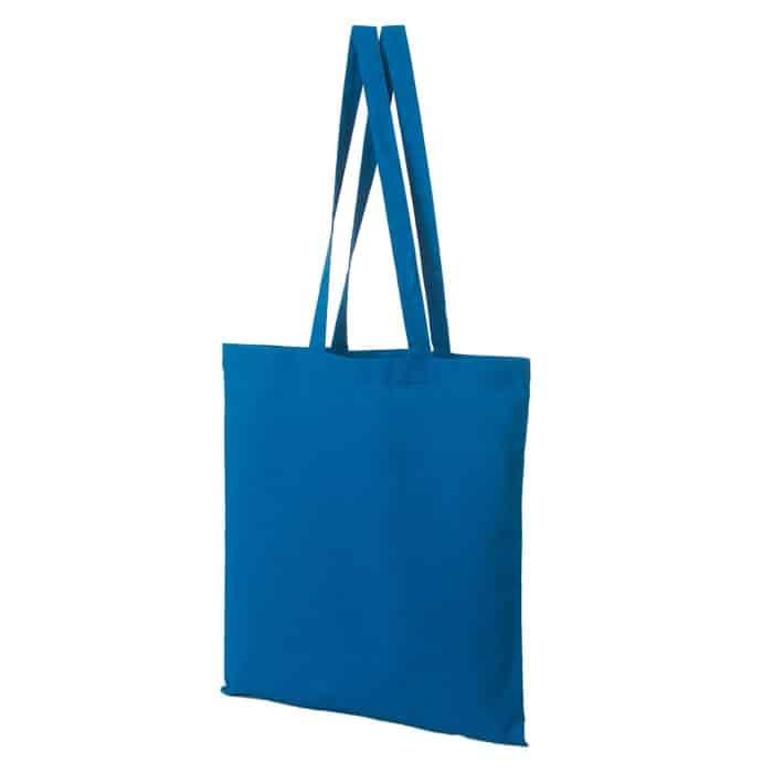 Materiałowa torba bawełniana niebieska 38x42 z długimi uszami
