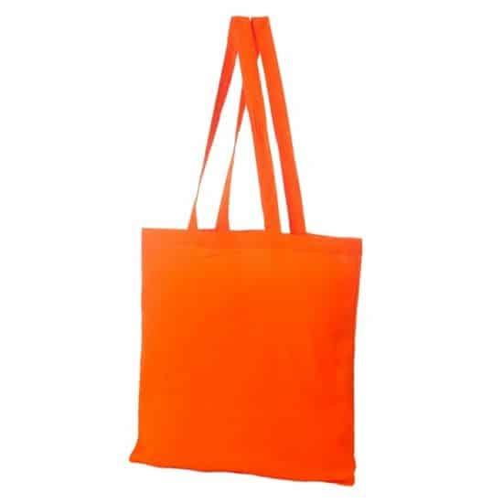 Materiałowa torba bawełniana pomarańczowa 38x42 z długimi uszami
