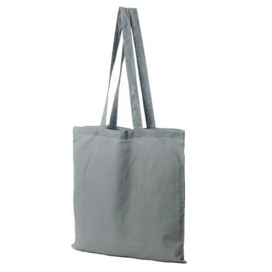 Materiałowa torba bawełniana popielata 38x42 z długimi uszami