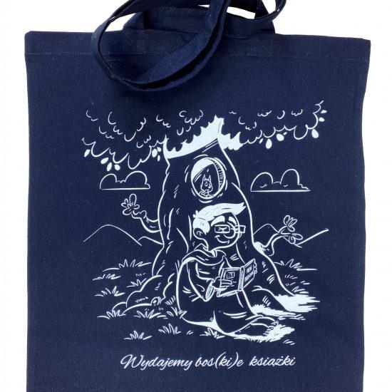 Czarne materiałowe torby z długimi uszami z białym nadrukiem sitodruk