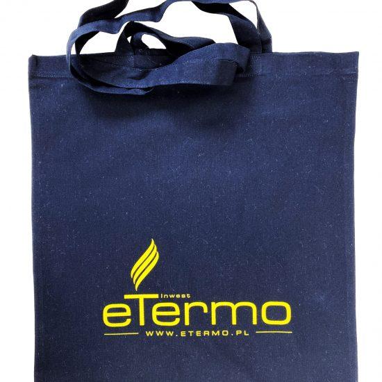 Czarne torby bawełniane z nadrukiem sitodruk