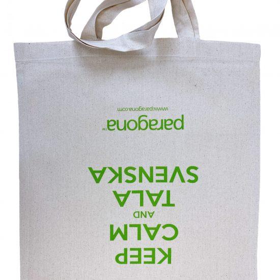 Materiałowe torby bawełniane ecru z długimi uszami z nadrukiem sitodruk