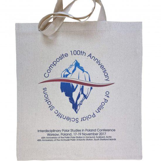 Materiałowe torby bawełniane ecru z nadrukiem 100 sitodruk