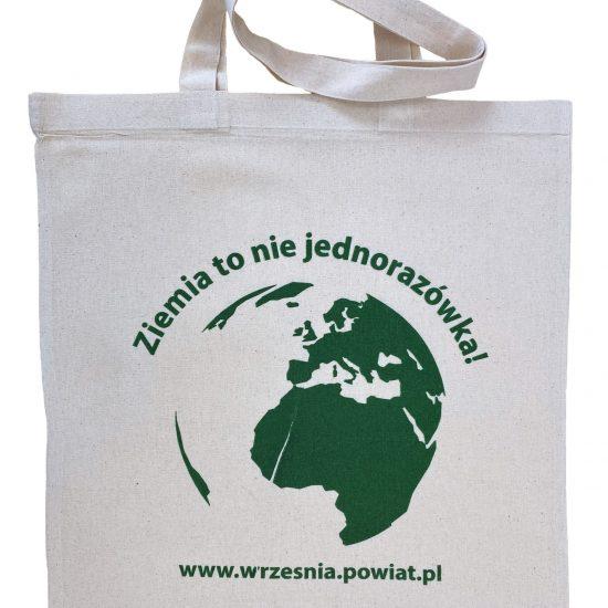 Materiałowe torby bawełniane ecru z nadrukiem sitodruk