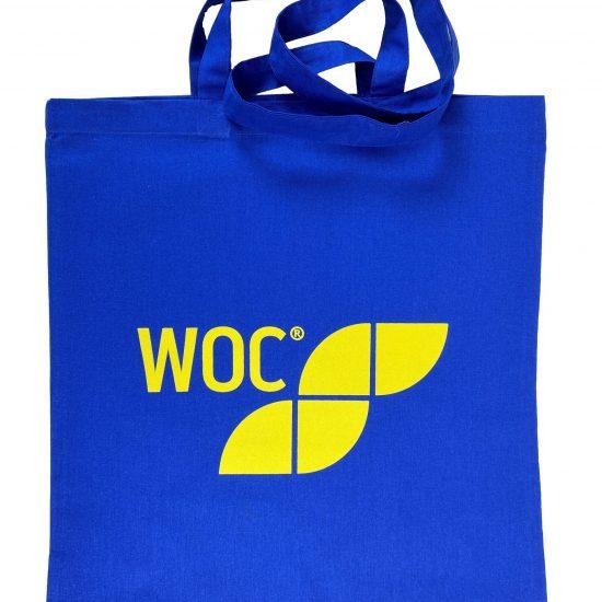 Materiałowe torby bawełniane niebieskie z nadrukiem sitodruk