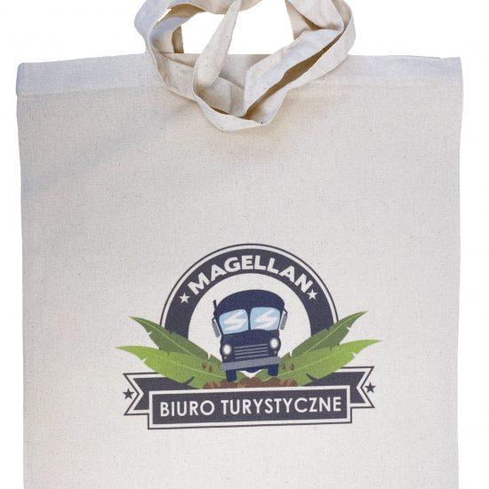 Materiałowe torby bawełniane z długimi uszami z nadrukiem DTG biuro turystyczne