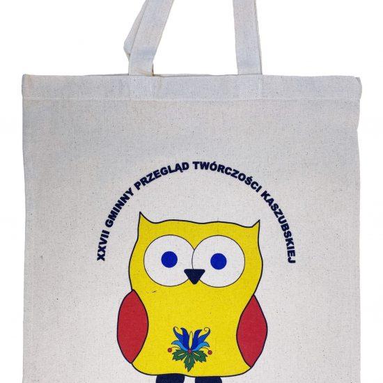 Materiałowe torby bawełniane z długimi uszami z nadrukiem DTG sowa
