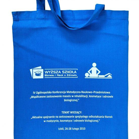 Niebieskie torby bawełniane z nadrukiem sitodruk