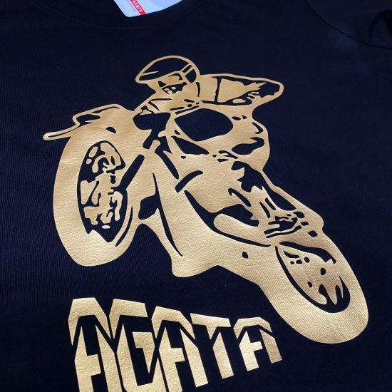 złoty nadruk na koszulkach motocykl