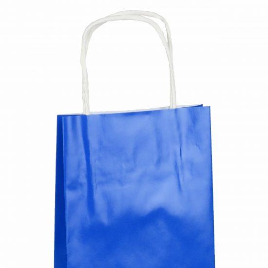 torba na butelkę wino niebieska papierowa 13x7x35