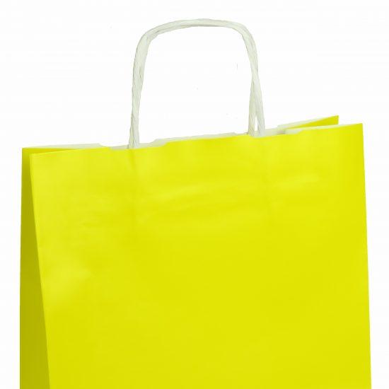 torba papierowa żółta z połyskiem 25cm x 11cm x 32cm