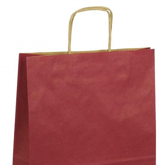 torba papierowa bordowa z nadrukiem 25cm x 11cm x 32cm