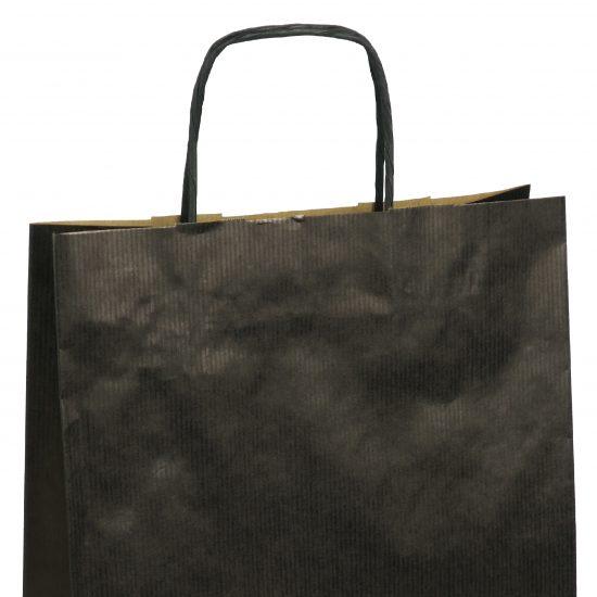 torba papierowa czarna z nadrukiem 31cm x 12cm x 41cm