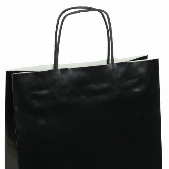 torba papierowa czarna z połyskiem 25cm x 11cm x 32cm