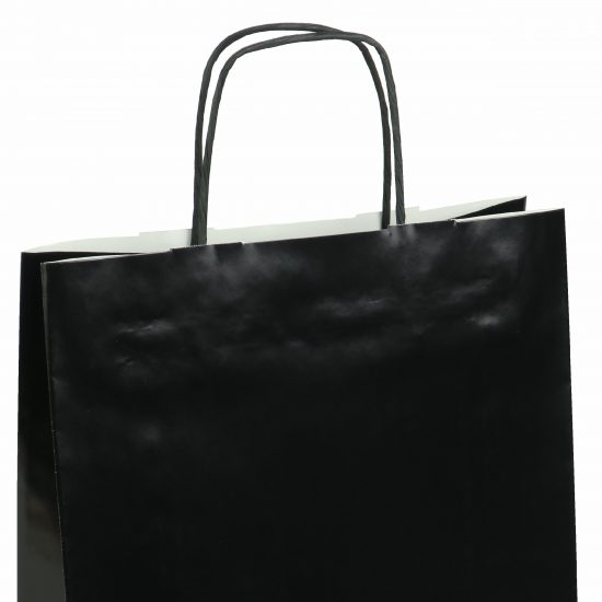 torba papierowa czarna z połyskiem 31cm x 12cm x 41cm