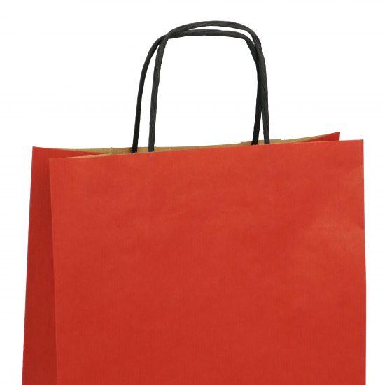 torba papierowa czerwona z nadrukiem 31cm x 12cm x 41cm