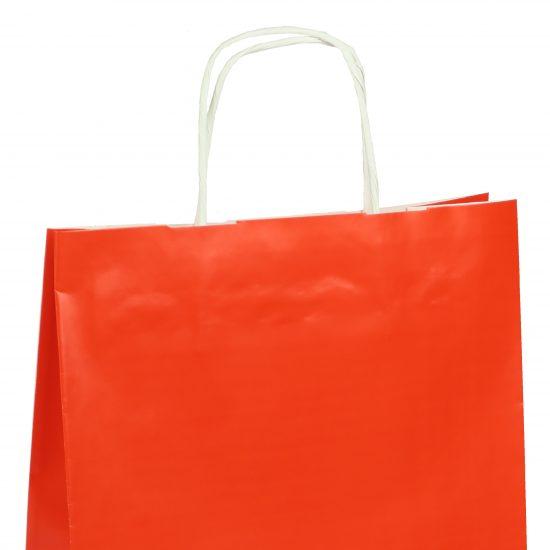 torba papierowa czerwona z połyskiem 25cm x 11cm x 32cm