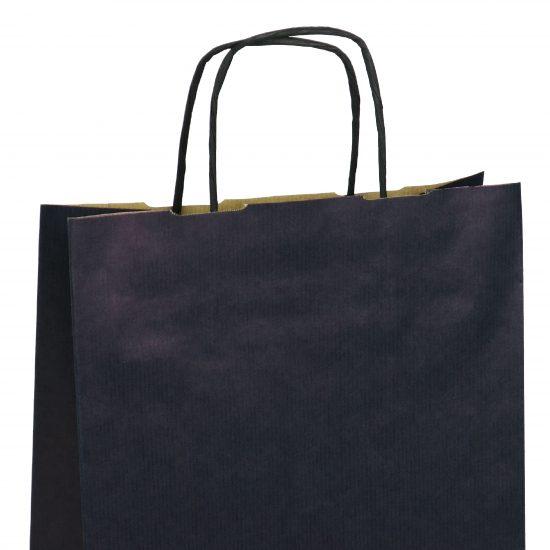 torba papierowa granatowa z nadrukiem 18cm x 8cm x 22cm