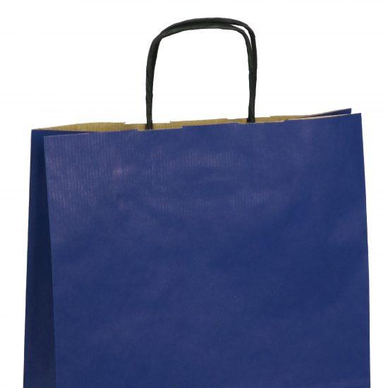torba papierowa niebieska z nadrukiem 25cm x 11cm x 32cm