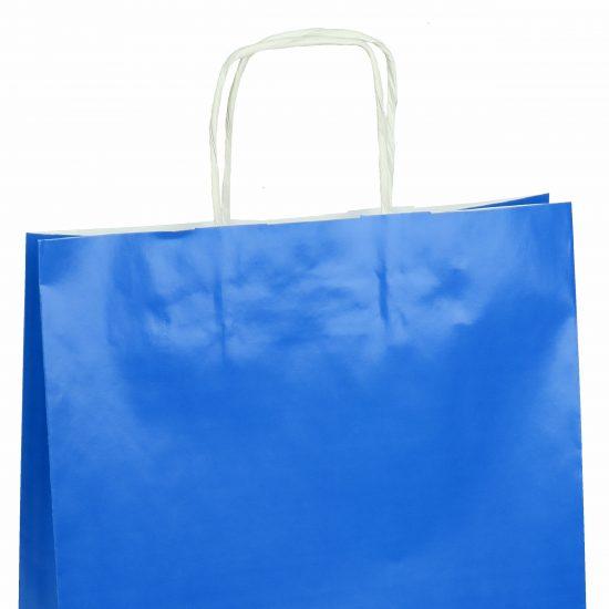 torba papierowa niebieska z połyskiem 25cm x 11cm x 32cm