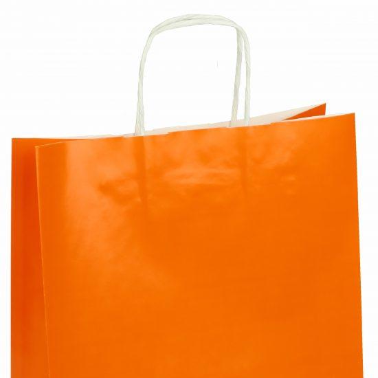 torba papierowa pomarańczowa z połyskiem 25cm x 11cm x 32cm