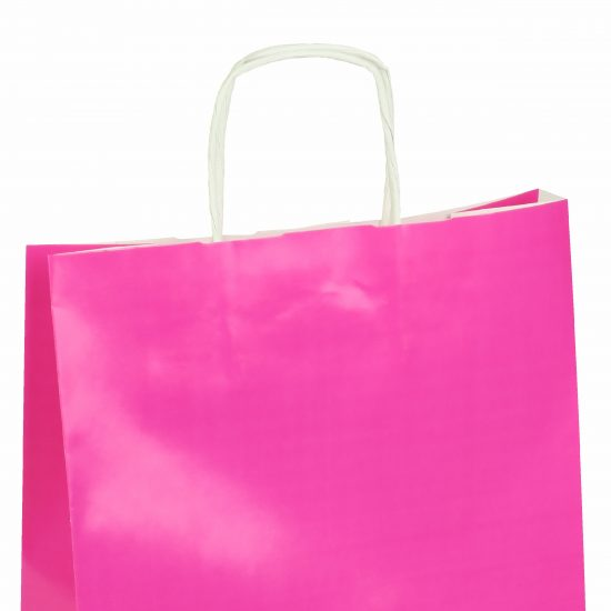 torba papierowa różowa z połyskiem 25cm x 11cm x 32cm