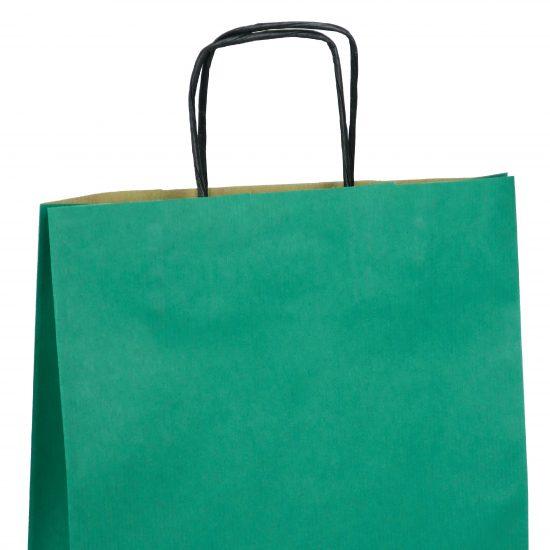 torba papierowa zielona z nadrukiem 18cm x 8cm x 22cm