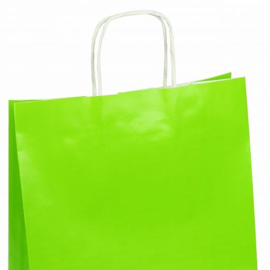 torba papierowa zielona z połyskiem 25cm x 11cm x 32cm