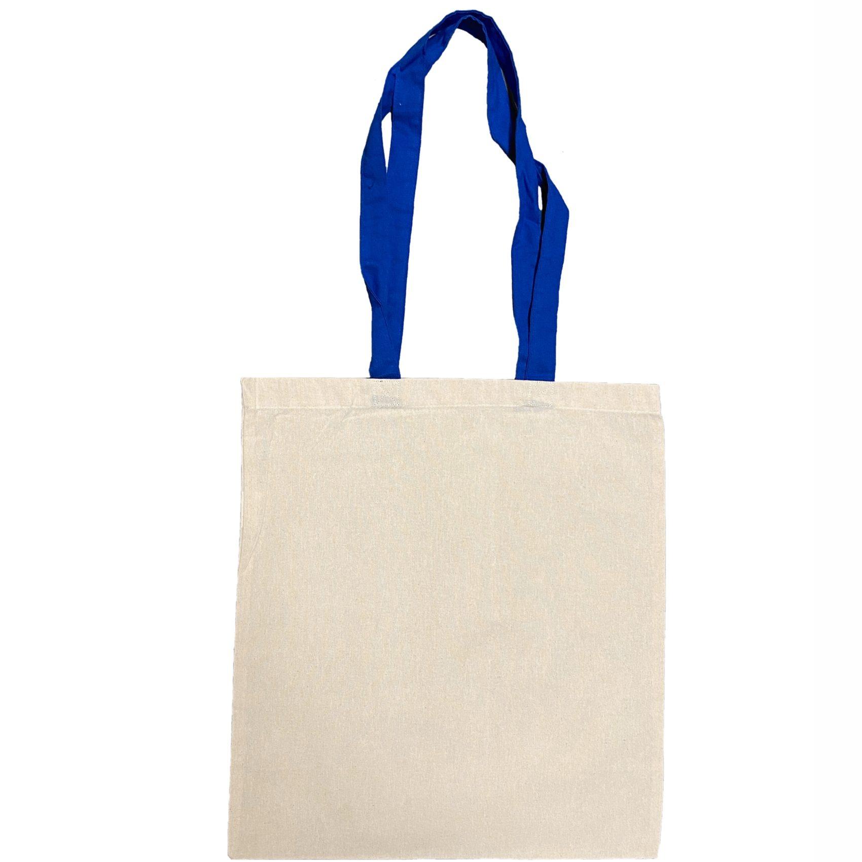 torba bawelniana ecru z niebieskimi uszami
