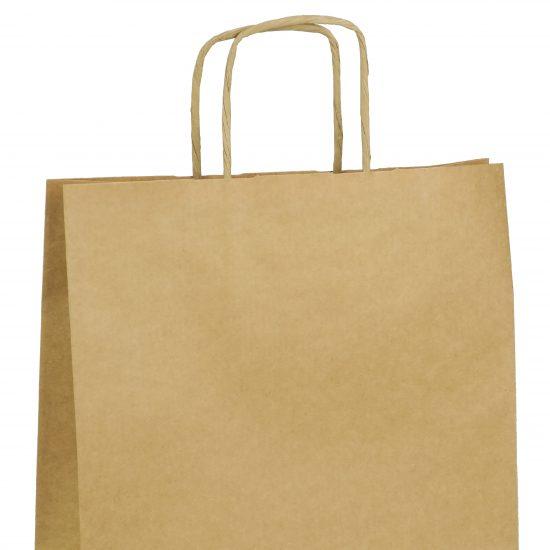 torba papierowa brazowa z nadrukiem 25cm x 11cm x 32cm